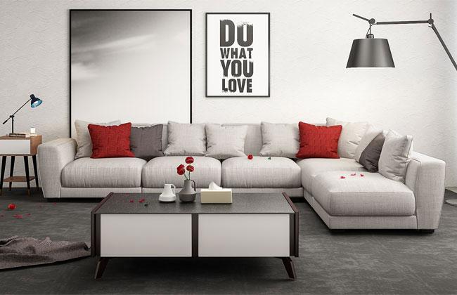 客厅三人布艺沙发-6002